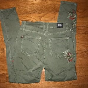 BDG floral green skinny jeans
